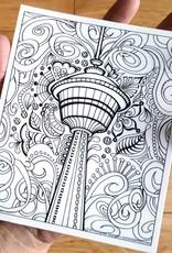 Crystal Salamon Colouring Sticker-Calgary Tower