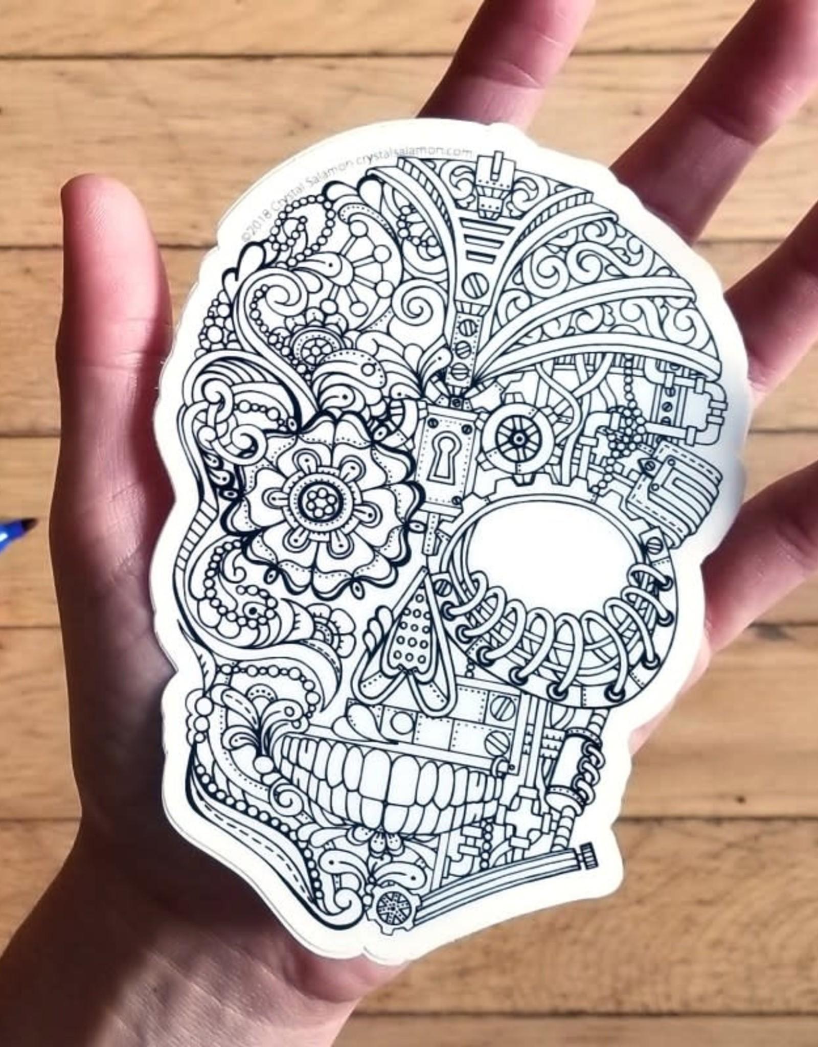 Crystal Salamon Colouring Sticker-Skull