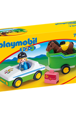 Playmobil 1,2,3 - Car with Horse Trailer