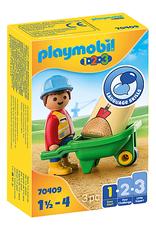 Playmobil 1.2.3. Construction Worker with Wheelbarrow