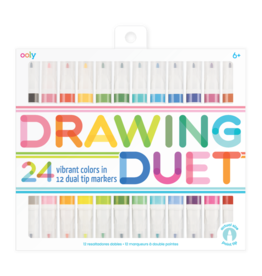 OOLY DRAWING DUET DOUBLE ENDED MARKERS - SET OF 12