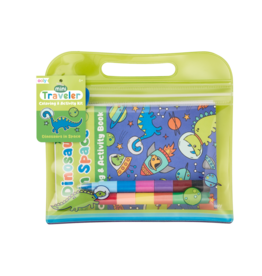 OOLY MINI TRAVELER COLORING & ACTIVITY KIT - DINOSAURS IN SPACE