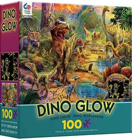 Ceaco 100PC DINO GLOW IN DARK-TEAL BOX