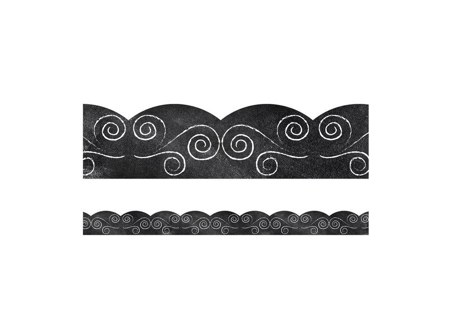 Swirls on Chalkboard Scalloped Borders