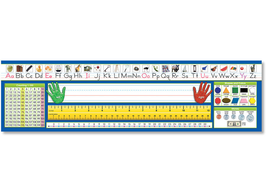 Primary - Traditional Manuscript Counting 1-120 Desk Plates