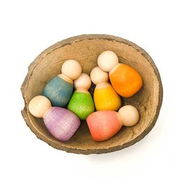 Grapat Baby Nins, Set of 6 in Coconut Shell