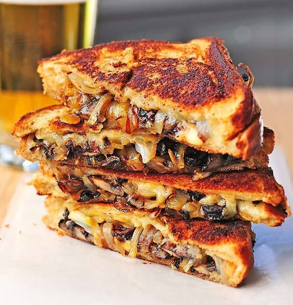 French Onion Grilled Cheese with Caramelized Balsamic Onions