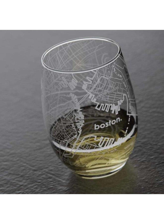 Boston MA Map Stemless Wine Glass