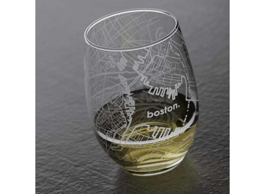 Boston MA Map Stemless Wine Glass