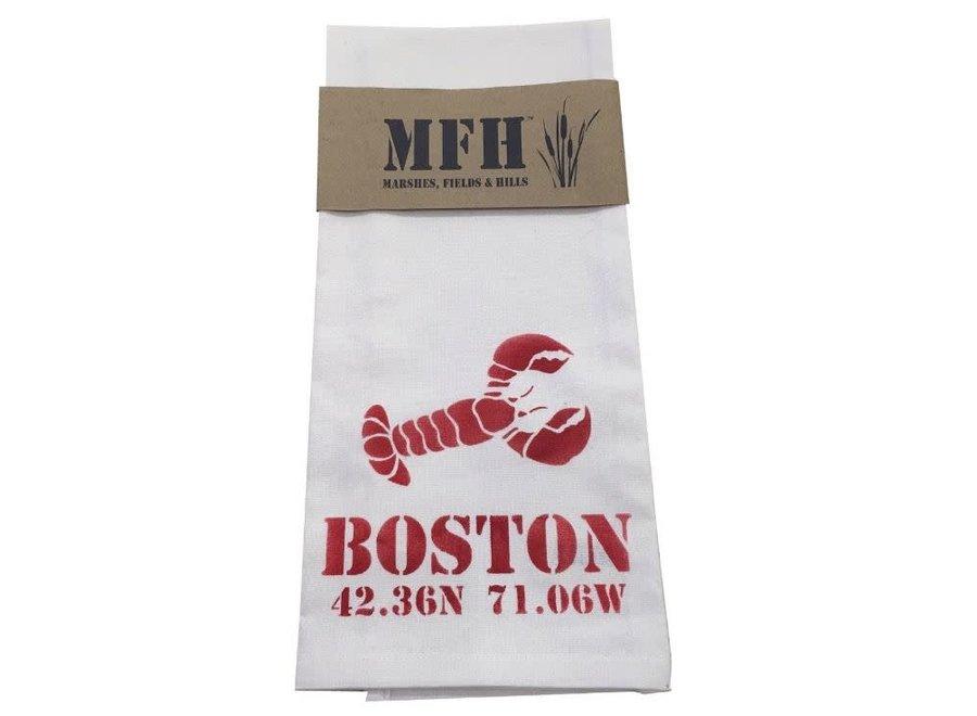 Boston Lobstah w/ Lat & Long Tea Towel