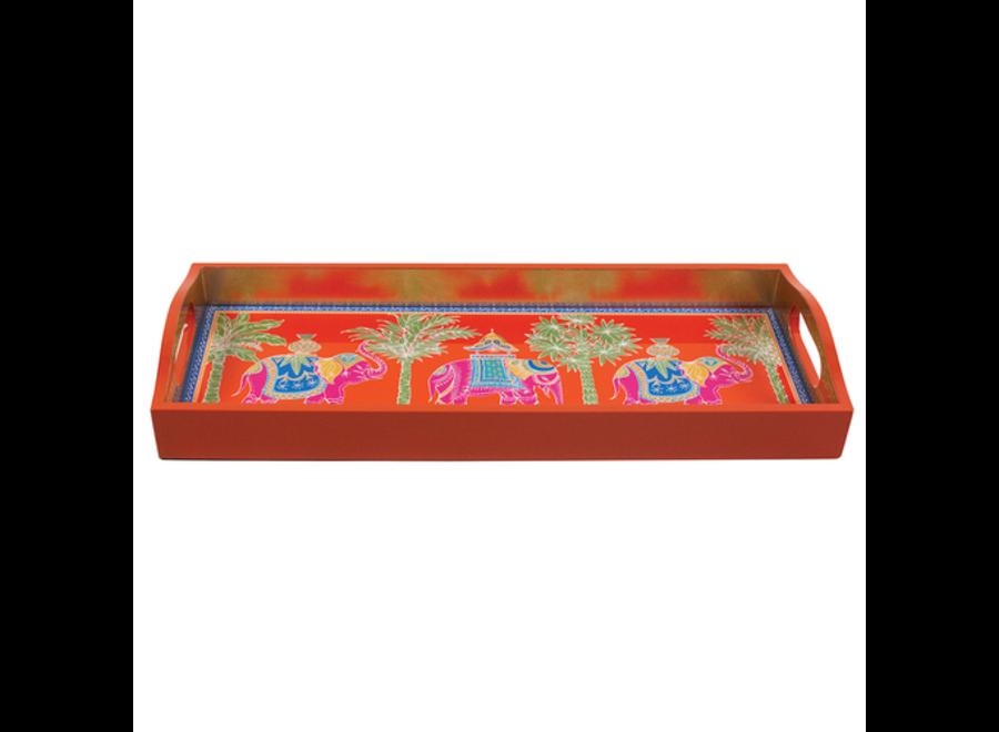 Royal Elephant Orange Lacquer Bar Tray