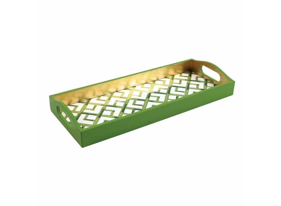 Bamboo Lacquer Bar Tray in White - 1 Each