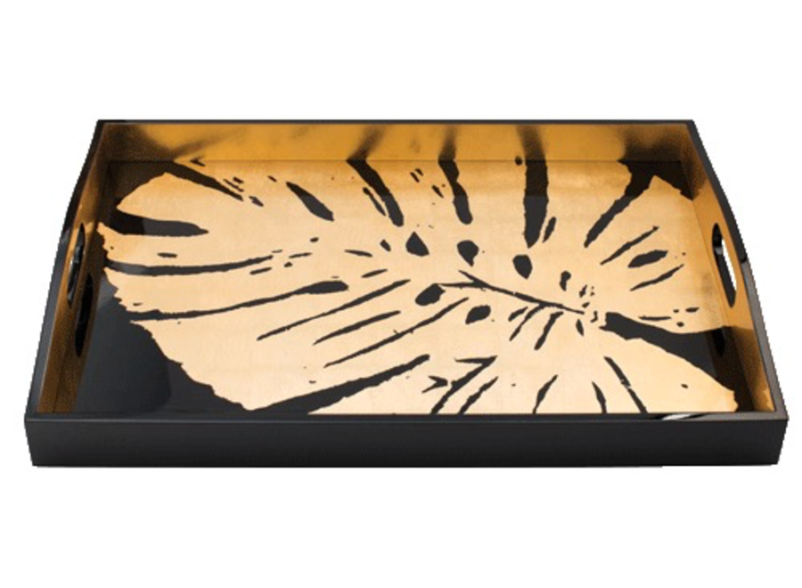 Palm Leaves Lacquer Large Rectangle Tray in Black & Gold