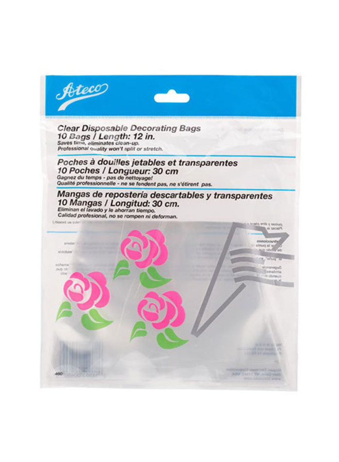 """Pastry Bag Clear Disposable 12"""""""