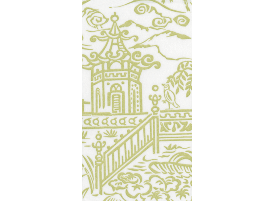 Pagoda Toile Paper Linen Guest Towel Napkins in Green - 12 Per Package