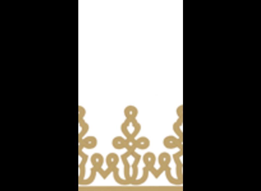 Dessin Passementerie Paper Linen Guest Towel Napkins in Gold - 12 Per Package