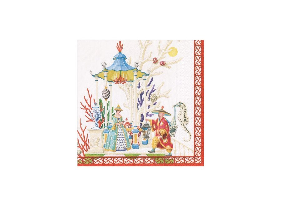 Coral Pagoda Paper Cocktail Napkins - 20 Per Package