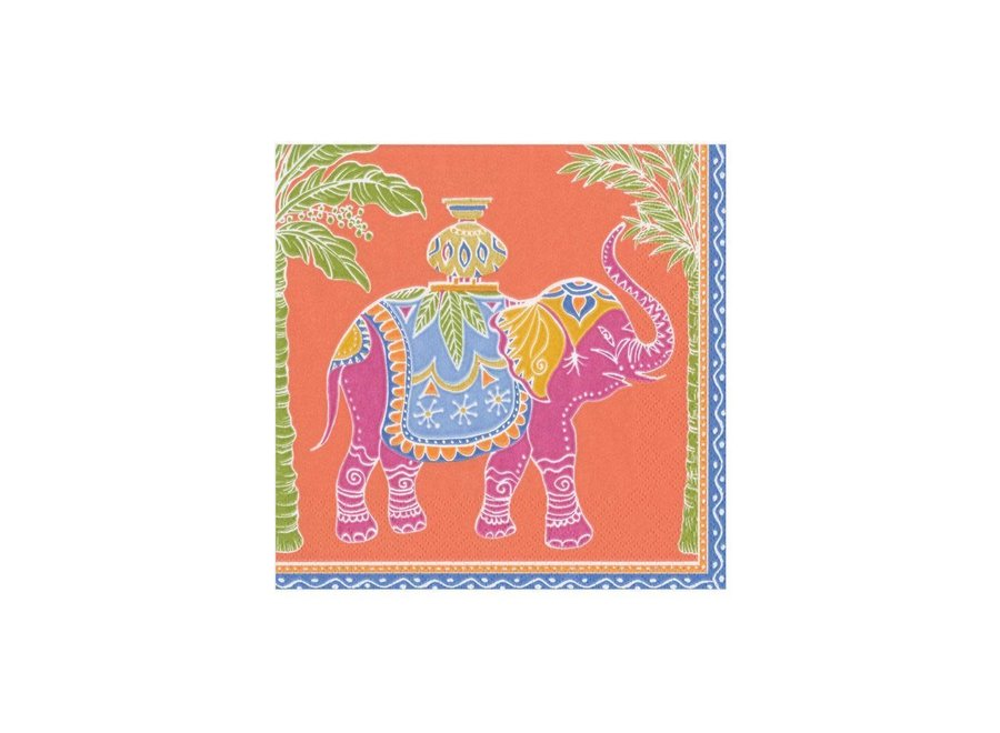 Royal Elephant Paper Cocktail Napkins in Orange - 20 Per Package