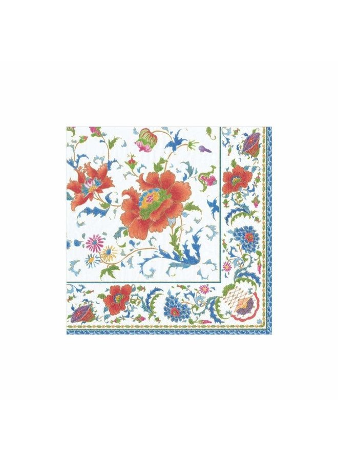 Chinese Ceramic Paper Cocktail Napkins in White - 20 Per Package