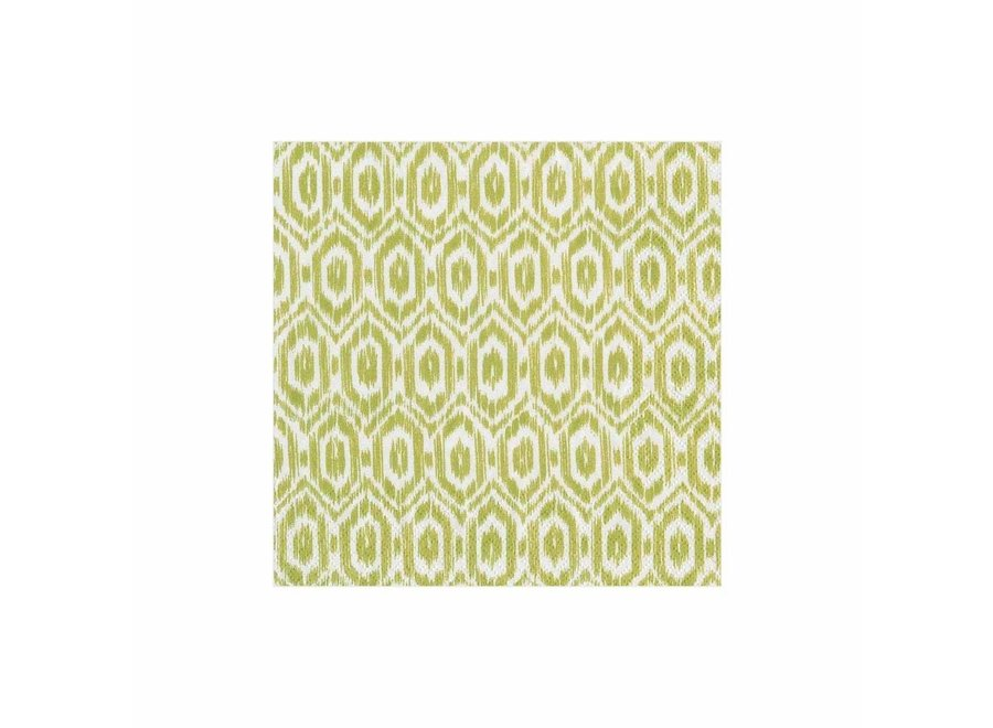 Amala Ikat Paper Cocktail Napkins in Green - 20 Per Package