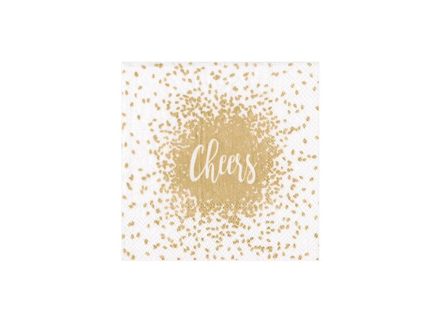 Cheers Paper Cocktail Napkins in Gold - 20 Per Package