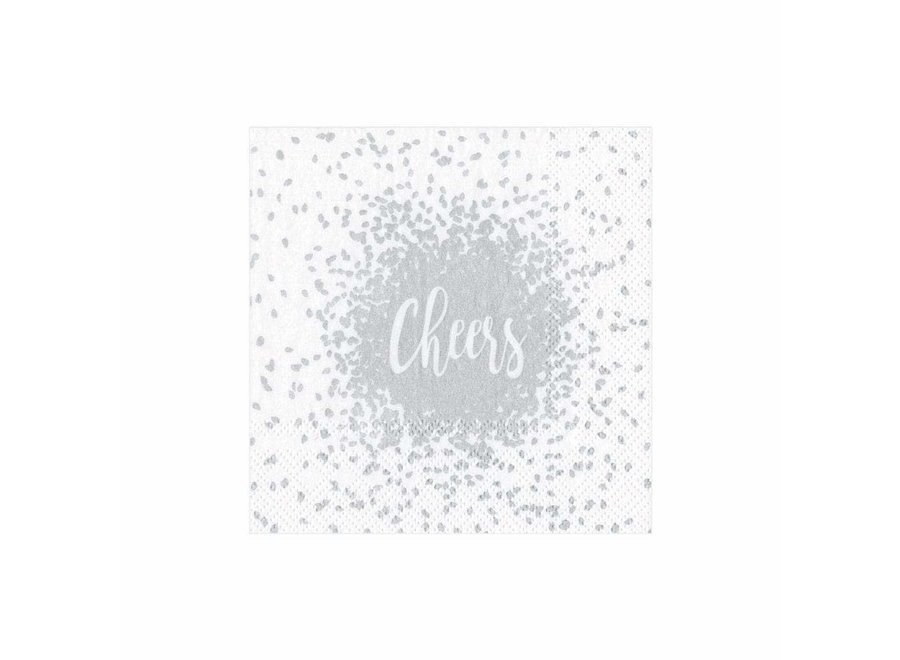 Cheers Paper Cocktail Napkins in Silver - 20 Per Package
