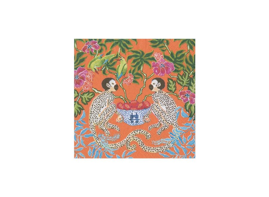 Monkeys Paper Cocktail Napkins in Orange - 20 Per Package