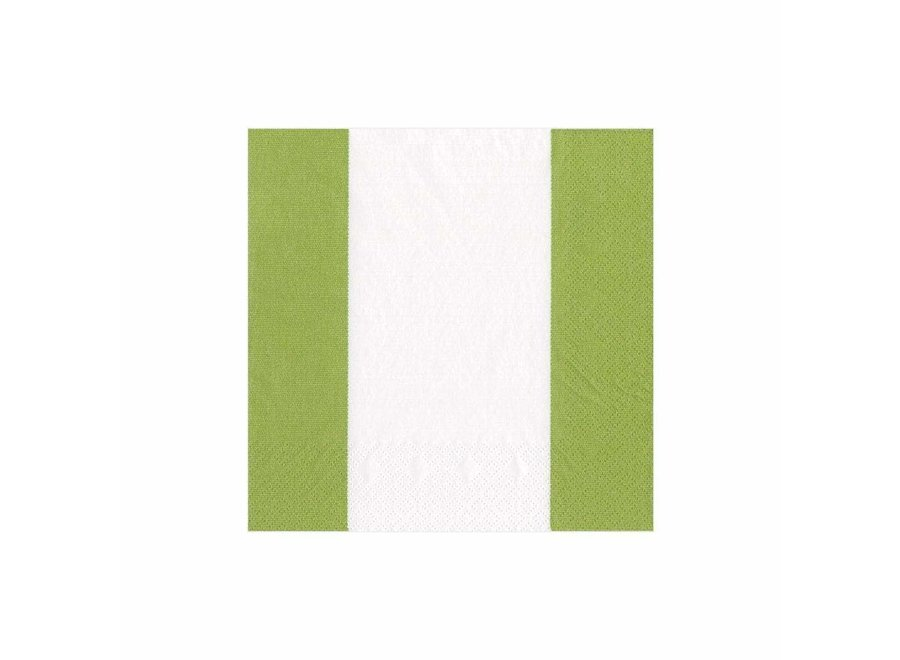 Bandol Stripe Paper Cocktail Napkins in Moss Green - 20 Per Package
