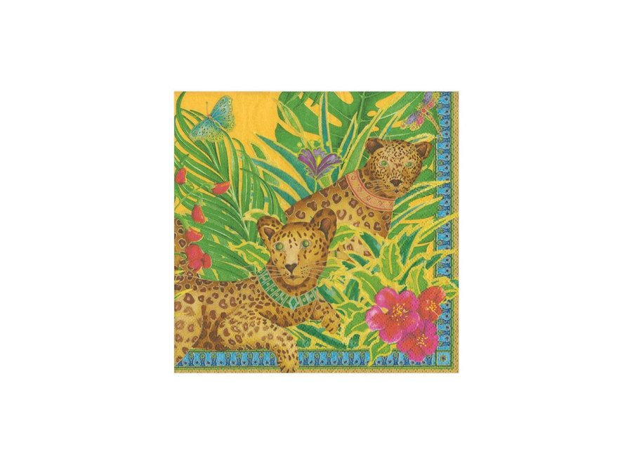 Leopards Paper Cocktail Napkins in Yellow - 20 Per Package