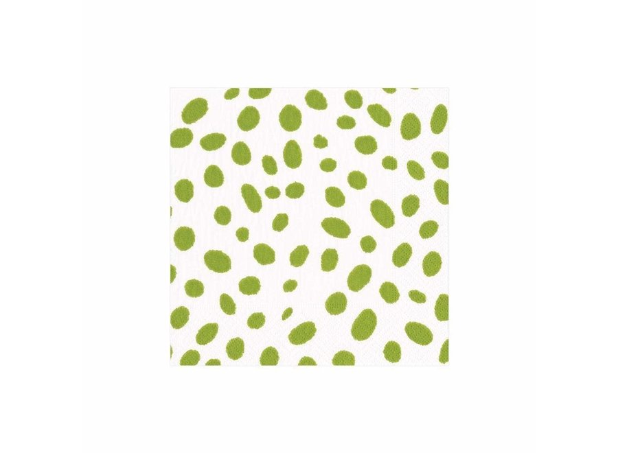 Spots Paper Cocktail Napkins in Green - 20 Per Package