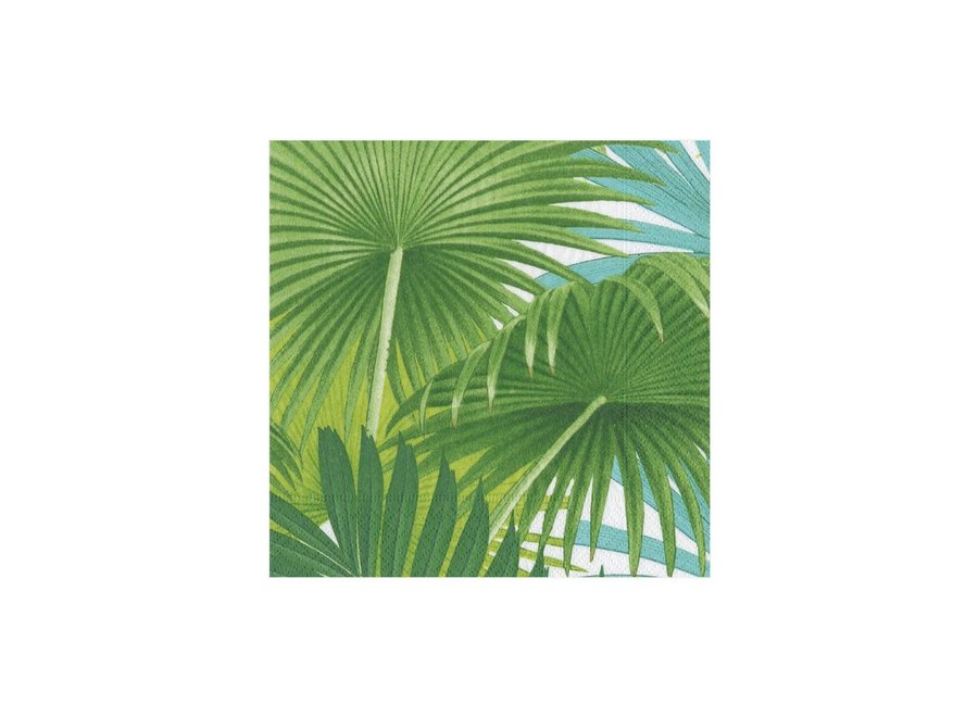 Palm Fronds Paper Cocktail Napkins in White - 20 Per Package