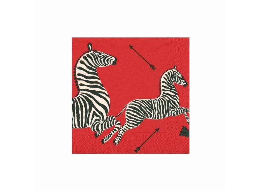 Zebras Paper Cocktail Napkins in Red - 20 Per Package