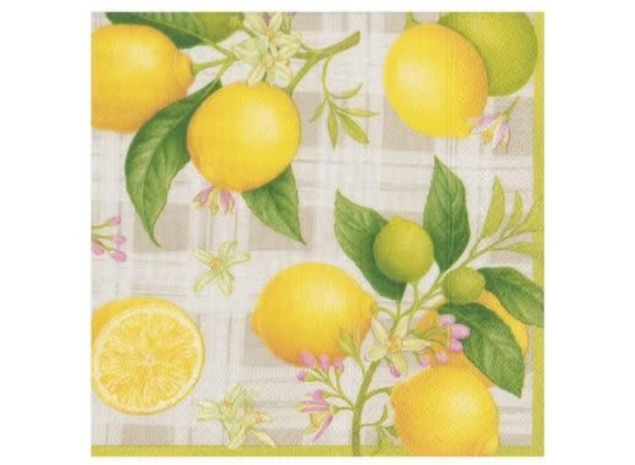 Citron Paper Cocktail Napkins - 20 Per Package