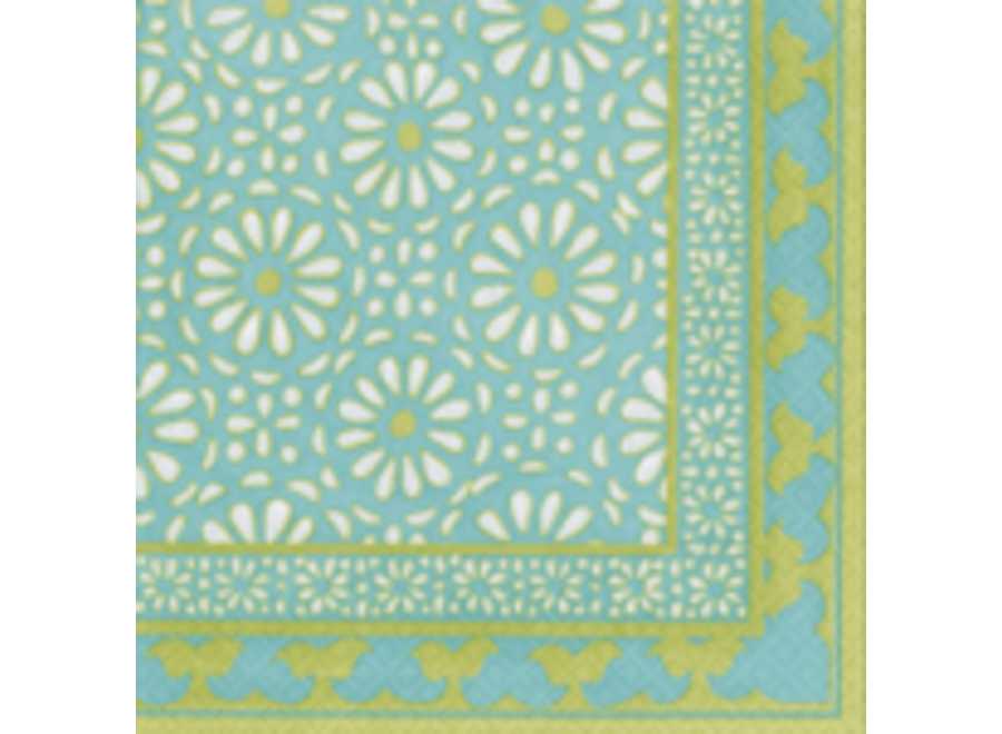 Alhambra Paper Lunch Napkins in Turquoise - 20 Per Package