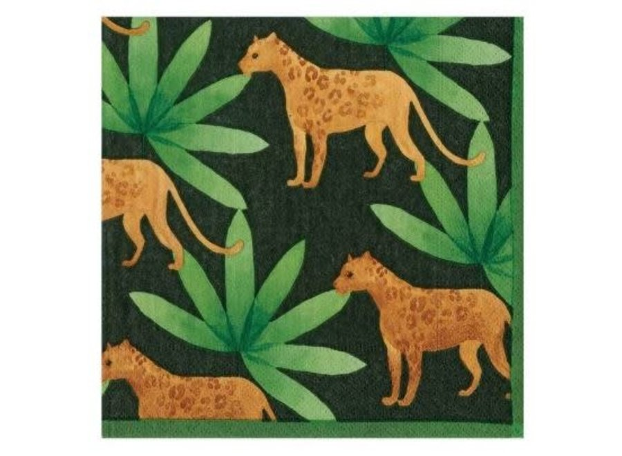 Panthera Paper Cocktail Napkins in Green - 20 Per Package