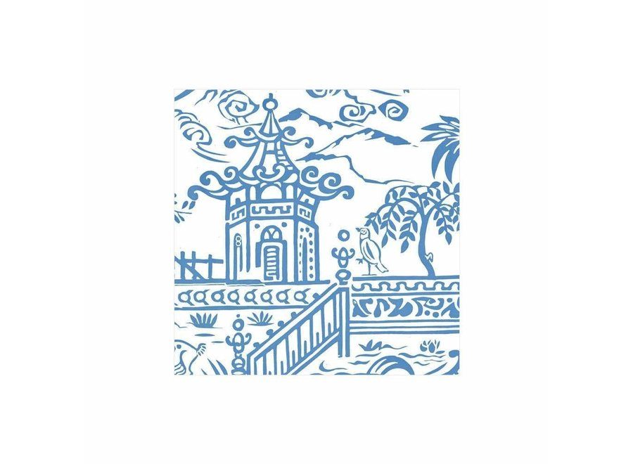 Pagoda Toile Paper Cocktail Napkins in Blue - 20 Per Package