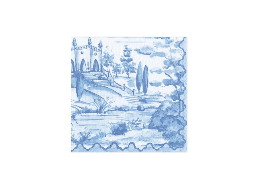 Tuscan Toile Paper Cocktail Napkins in Blue - 20 Per Package