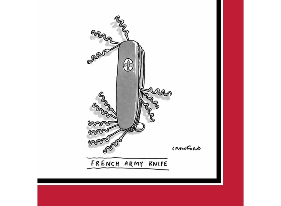 French Army Knife Beverage Napkin