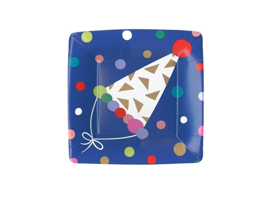 Party Hats Square Paper Salad & Dessert Plates - 8 Per Package