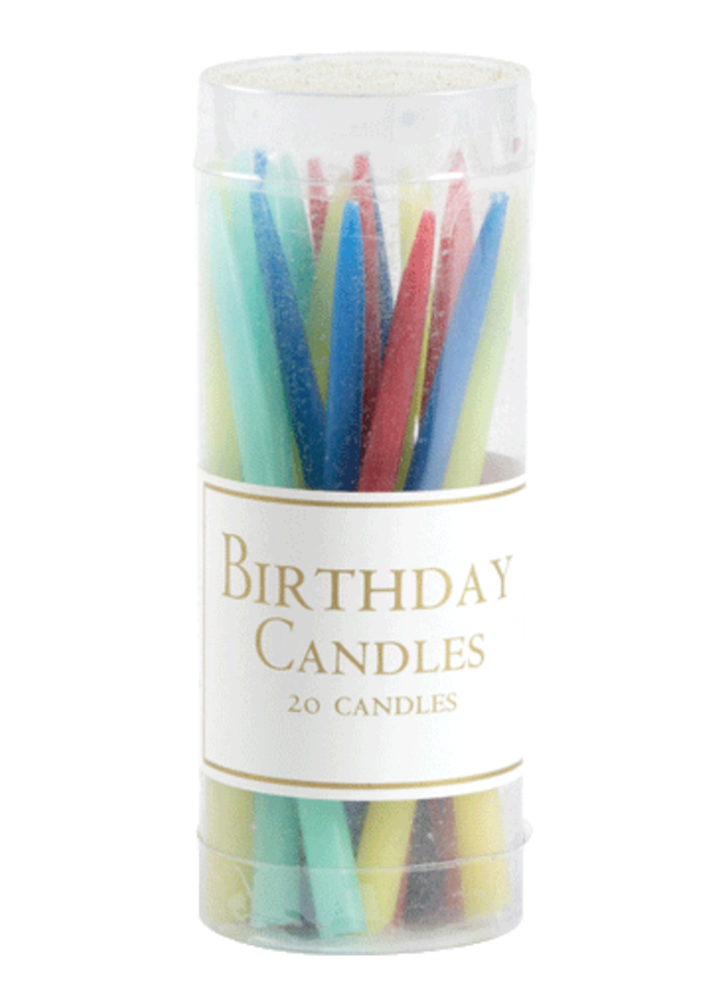 Birthday Candles in Bright Colors - 20 Candles Per Box