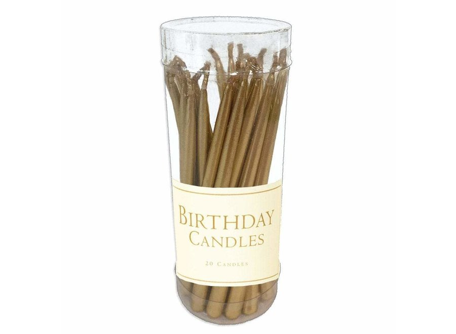 Birthday Candles in Gold - 20 Candles Per Box