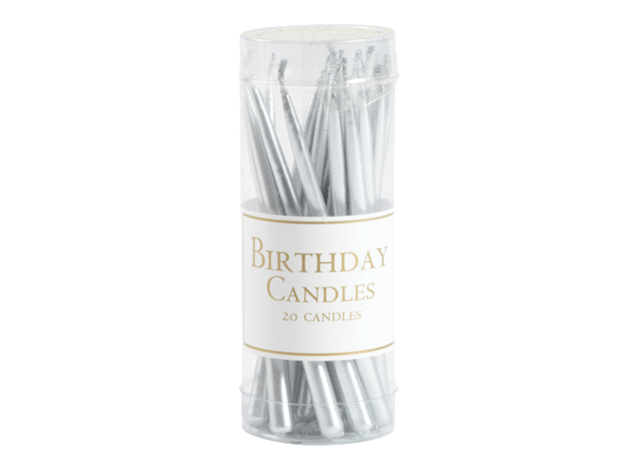 Birthday Candles in Silver - 20 Candles Per Box