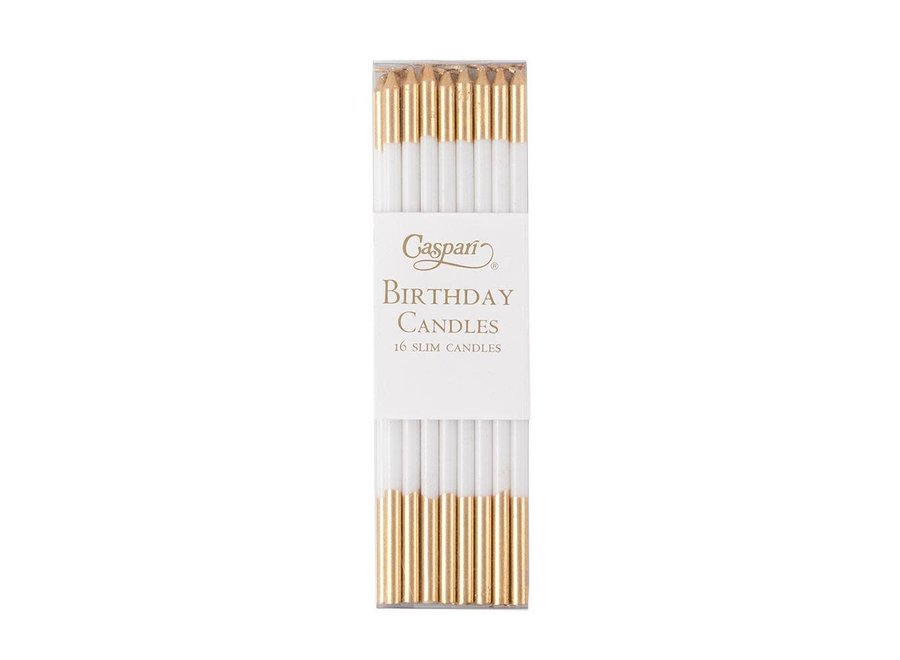 Slim Birthday Candles in White & Gold - 16 Candles Per Package