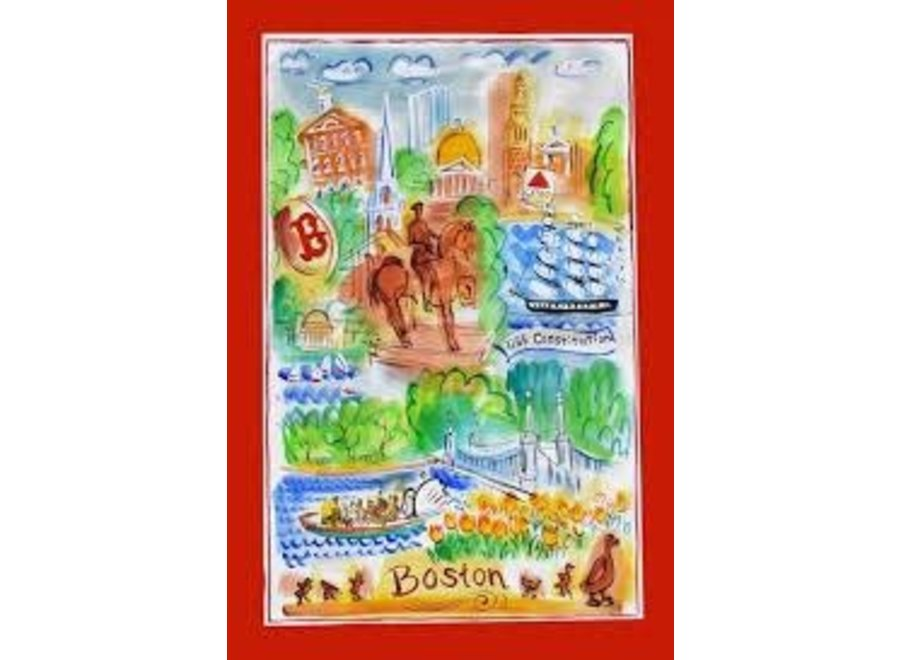 Tea Towel Boston Collage Color