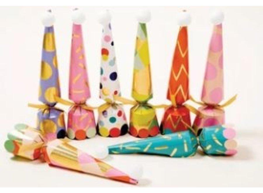 Party Hats Cone Celebration Crackers - 8 Per Box