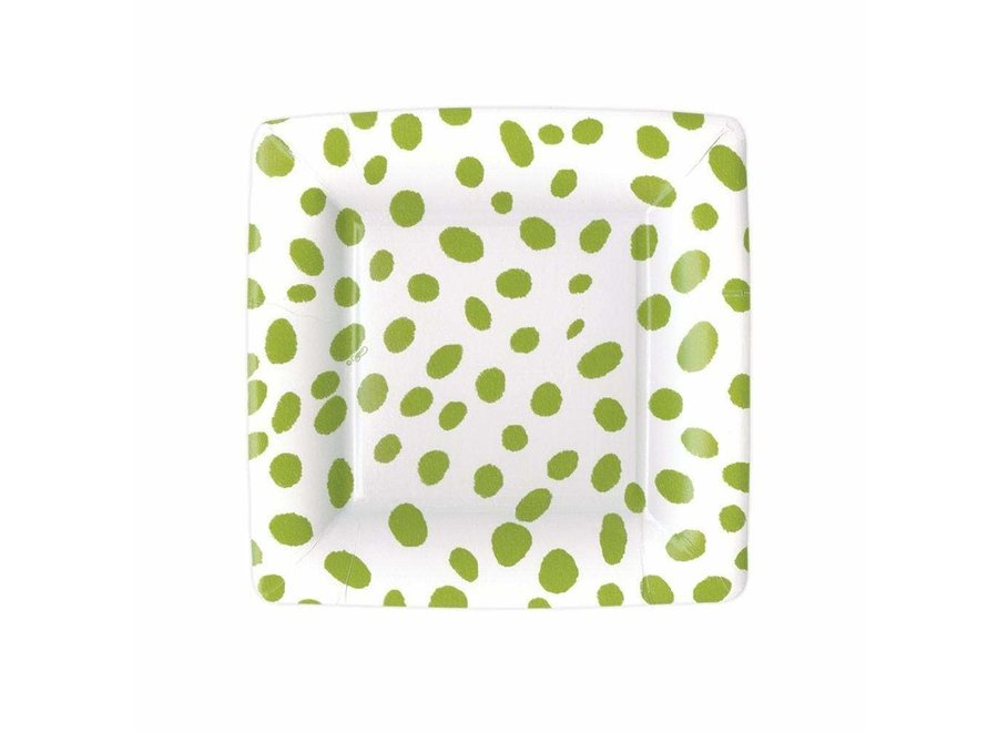 Spots Square Paper Salad & Dessert Plates in Green - 8 Per Package