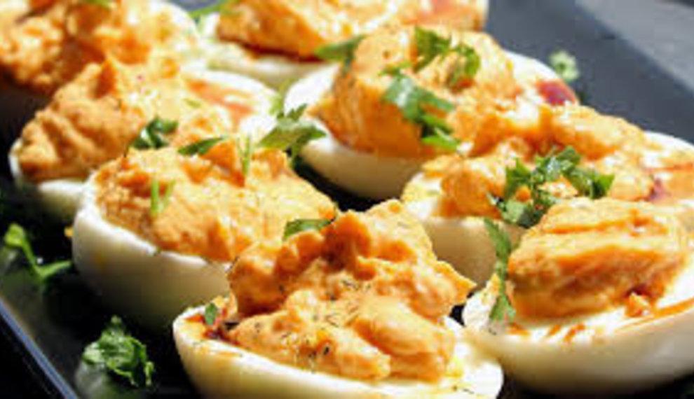 Rose Harissa Deviled Eggs