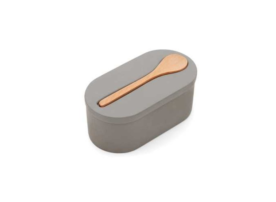 Cement Double Salt Cellar with wooden spoon