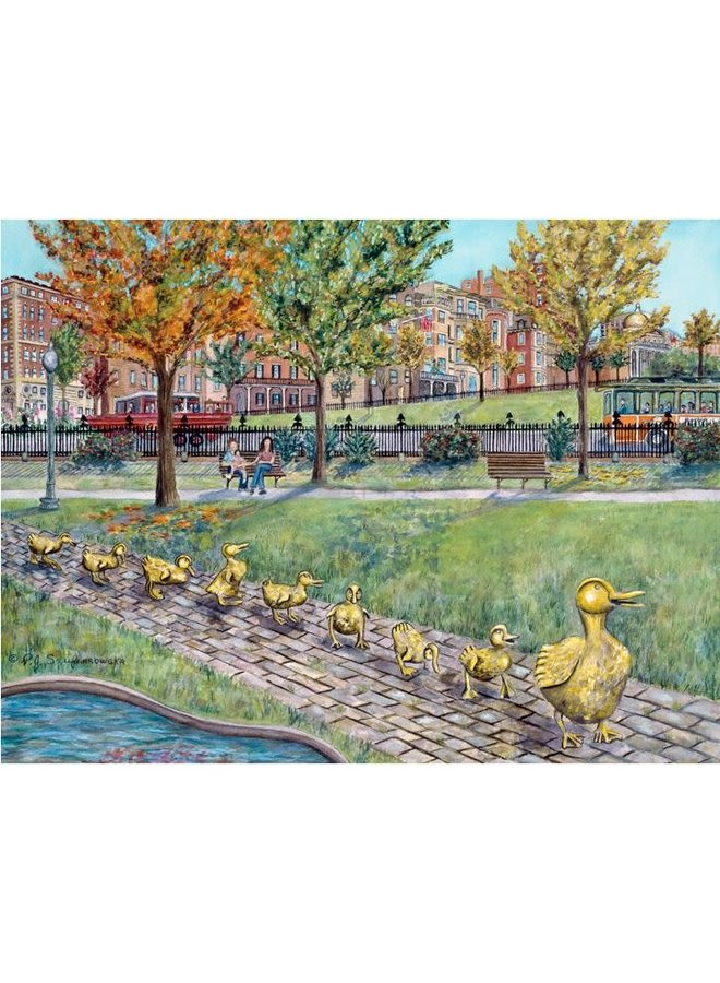 "Boston Public Garden ""Ducklings"" Matted Print 8x10"