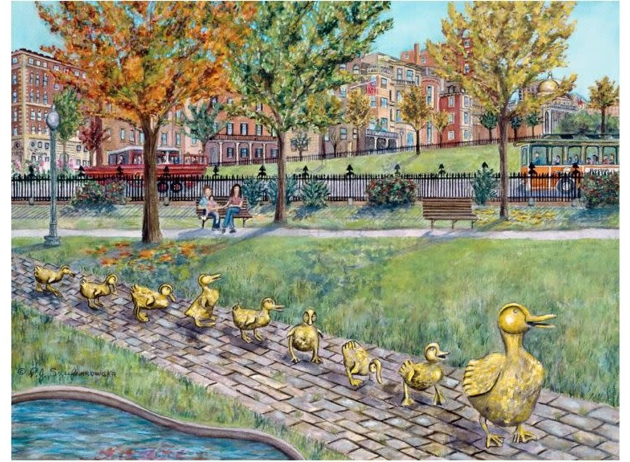 "Boston Public Garden ""Ducklings"" Matted Print 8x10"
